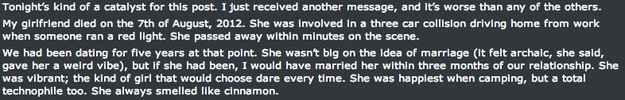 Two days ago in the 'No Sleep' subreddit , Reddit user Nathan wrote a post claiming his dead girlfriend, Emily, is sending him messages on F...
