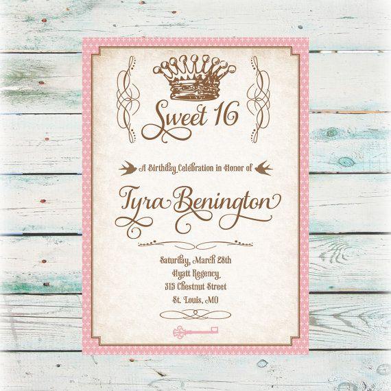 Printable Princess Sweet 16 Birthday Invitation  by BeyondDigital, $20.00