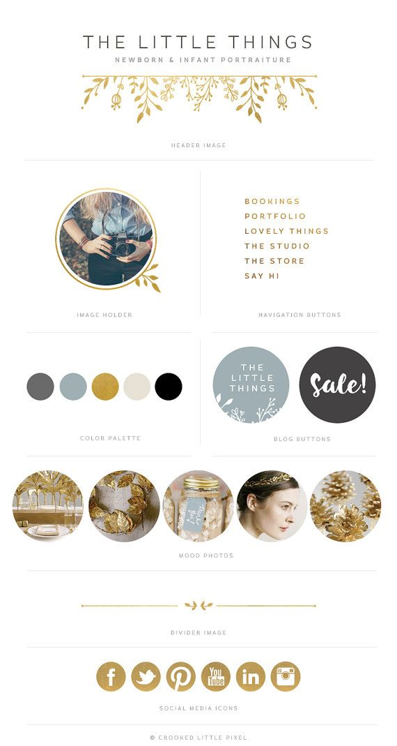 Deluxe Blog Identity Gold Blue Gray Blog by CrookedLittlePixel