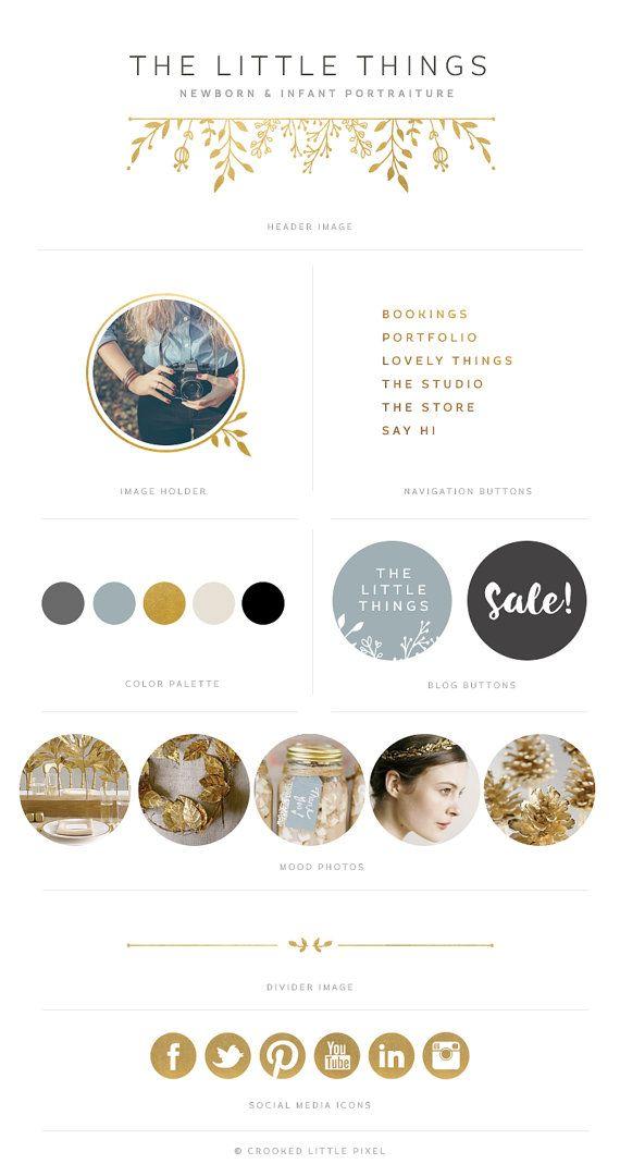 Deluxe Blog Identität Gold blau grau Blog von CrookedLittlePixel