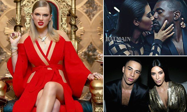 Another dig at Kim? Taylor Swift wears a gown by Kardashian family favorite Balmain in her music video, prompting furious fans to accuse…