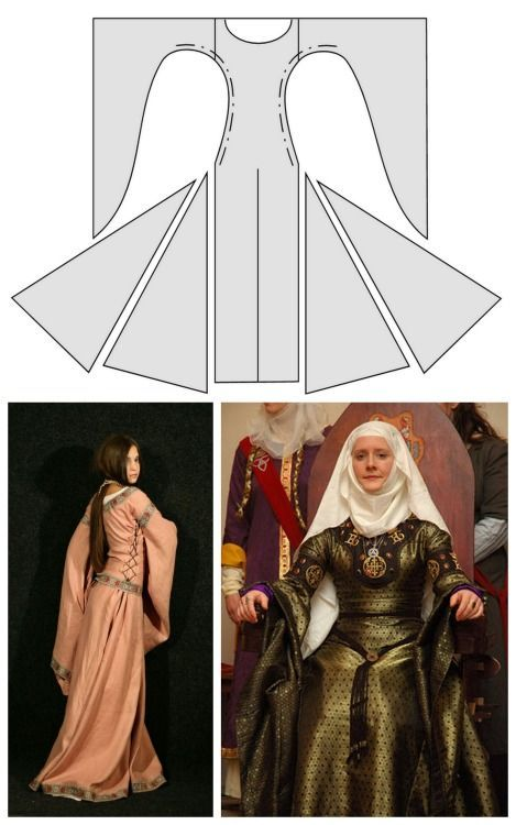 "truebluemeandyou: DIY Medieval Dresses from Medieval Wedding Dresses. The above photos are of the ""bliaut"", which ""is a rich, full overgown made of fine silk, laced tight down the sides of the body, with long, hanging sleeves."" The navigation on this site isn't great and if you click on a link within a post it may show up as a 404 error. If you stick to the sidebar you are fine and the links work. The dresses on this site are: Baid Kirtle and Gown. ""The kirtle, the basic medieval dress, is … – Selana Spade – Gewandung"