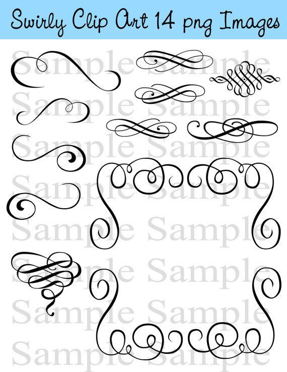 Swirly Flourish Swirls Wedding Clipart Instant Download