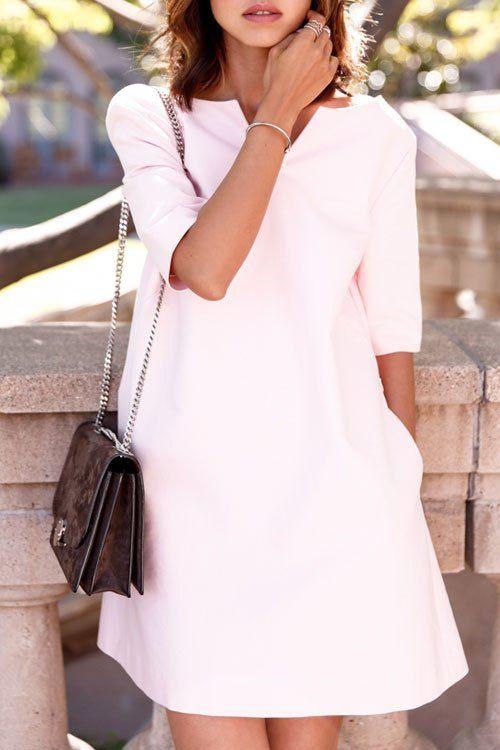 AS Vestido Backless Lace Up V-Neck Solid Color Dress