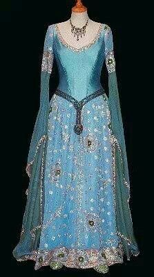Celtic-dress...I like the drop embellishment over the skirt.