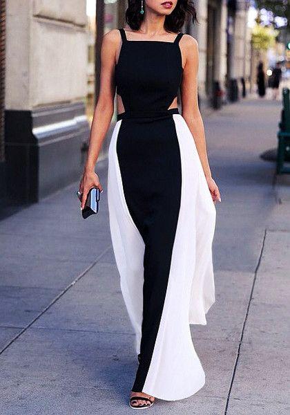Beauty model wearing cutout maxi dress