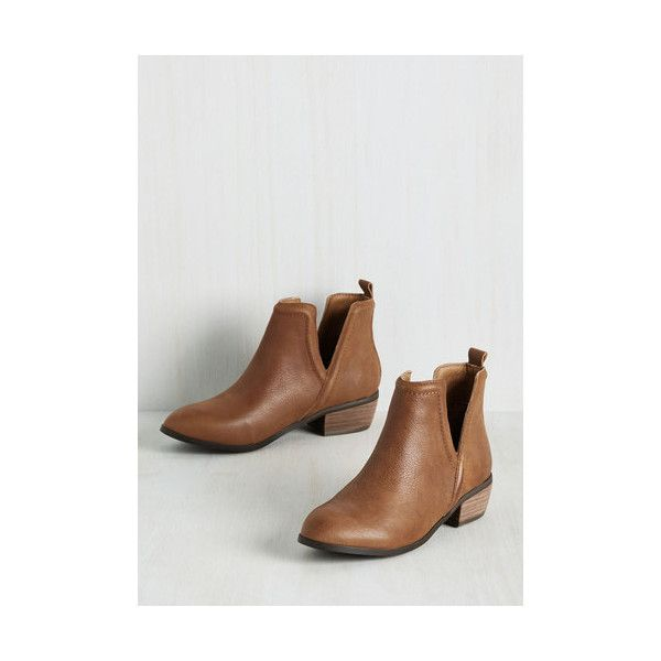 Minimal Next Door Nature Bootie (2 730 UAH) ❤ liked on Polyvore featuring shoes, boots, ankle booties, boot - bootie, bootie, brown, flat bootie, brown flat boots, brown ankle boots and flat ankle booties