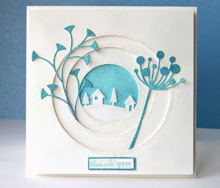 handmade card from Curt's World ... telescoping negative circles .. luv the sparkly turquoise paper used for the Memory Box die cuts ... wonderful card!!