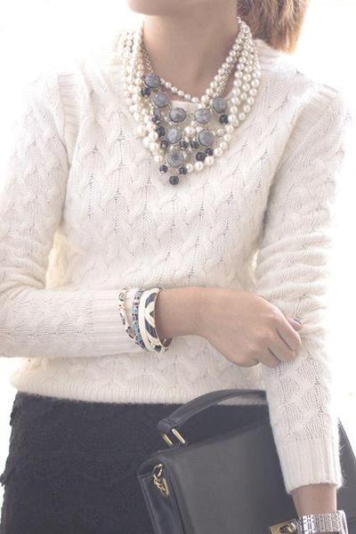 ivory honeycomb sweater + layered goodies