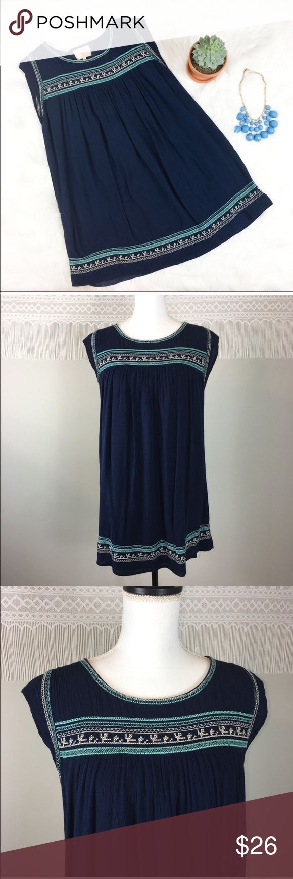 Under Skies Blue Embroidered Dress Under Skies blue and teal Embroidered dress. Can be worn as a tunic also. Size medium. Approximate measurements flat laid are 31' long and 18' bust. GUC with basic wear. ❌No trades ❌ Modeling ❌No PayPal or off Posh transactions ❤️ I 💕Bundles ❤️Reasonable Offers PLEASE ❤️ Under Skies Dresses Mini