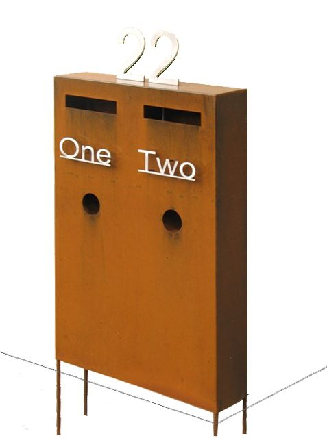 Custom Double Ned Kelly letterbox by www.entanglements.com.au