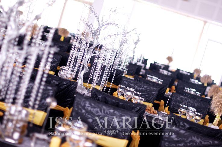 Decoratiuni sala nunta copacei cu cristale