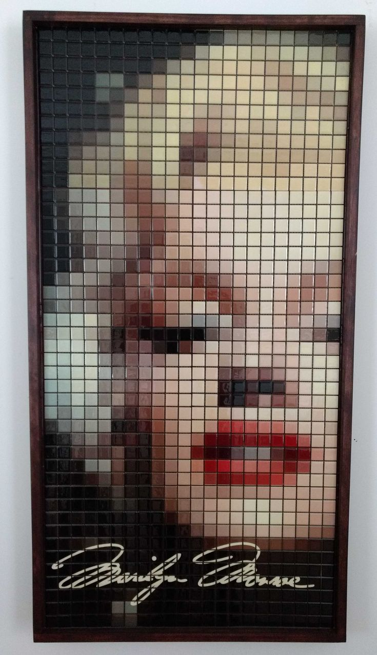 "Marilyn. Mosaic size: 3'x3' Made of 3/4""x3/4"" square tiles"