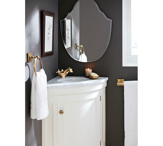 Brinkley Demilune Single Corner Sink Console - White | Pottery Barn