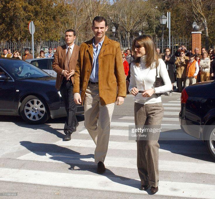 Prince Felipe and Princess Letizia during Spanish Royals Vote at European Constitution Referendum - February 20, 2005 at 'Monte El Pardo' Public School in El Pardo, Madrid, Spain.