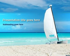 Paradise Beach PowerPoint Template with Sailboat Picture
