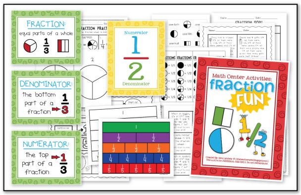 The Teacher Wife: Fraction Fun packet. Included: 3 anchor charts, labeling fractions
