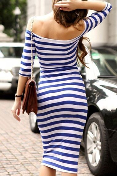 Street fashion flattering blue and white striped dress
