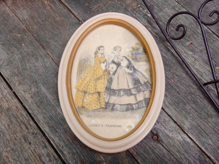 Godeys Fashions 1853, Victorian Art, Oval Frame, 1850s Advertising, Oval Framed…