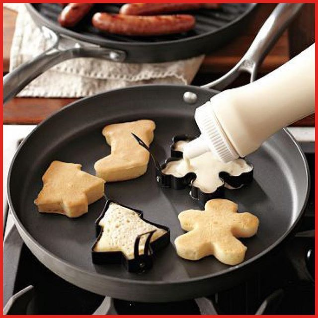 December 3: For a festive breakfast use your Christmas cookie cutter to make pancakes! #adventcalendar #adventskalender #christmas #breakfast #pancakes