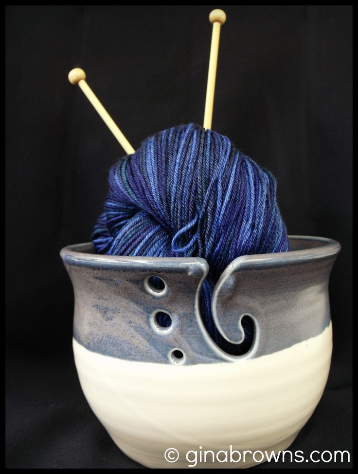*Sorry knitters! This Bowl has sold.* Smokey purple and periwinkle adorn this yarn bowl.