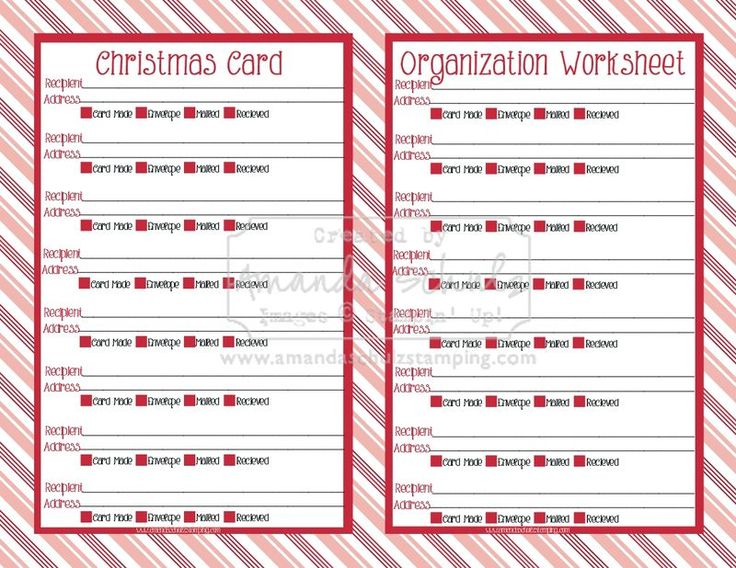 127 best Holiday - Christmas Planner images on Pinterest Xmas - christmas card list template