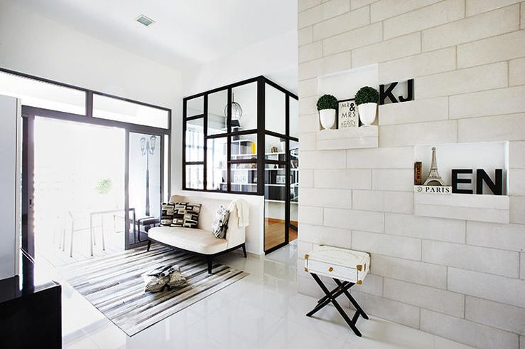 Space Sense: Minimalist palette of creams and white accentuated by clean black lines.