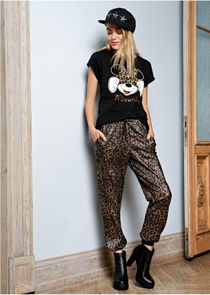 Luźniejsze spodnie w modny deseń w cętki leoparda, świetne do czółenek i kurtki skórzanej, zamienią każdy zestaw w wyjątkowy! Materiał wierzchni: 100% poliester