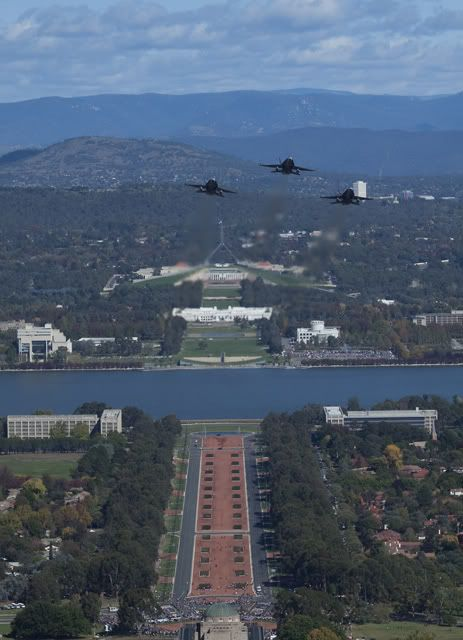Anzac Day Canberra Australia - F/A 18 flypast