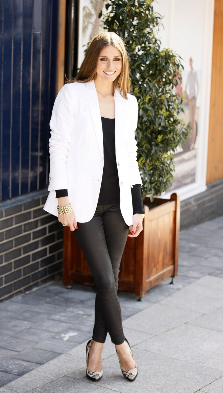 25 all time best pictures of olivia palermo style and fashion - Olivia Palermo Style With White Blazer And Leather Pants