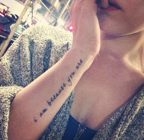 """""""I am because you are"""" Done in Brooklyn, New York at Goose Tattoo by Nalla"""