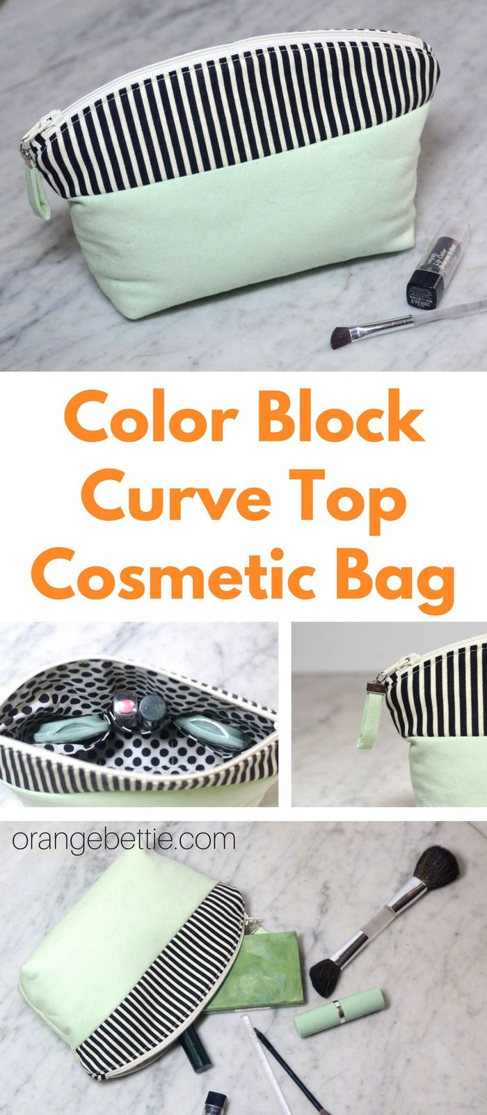 Color Block Curve Top Cosmetic Bag Tutorial – Orange Bettie