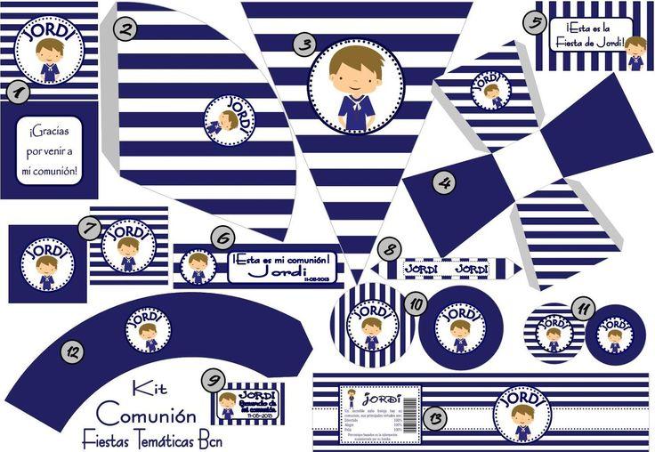 Fiestas Temáticas BCN - Kits de fiesta imprimibles: KIT FIESTA COMUNION NIÑO…