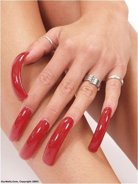 Red Long Nails Long Red Nails Curved Nails Long Nails