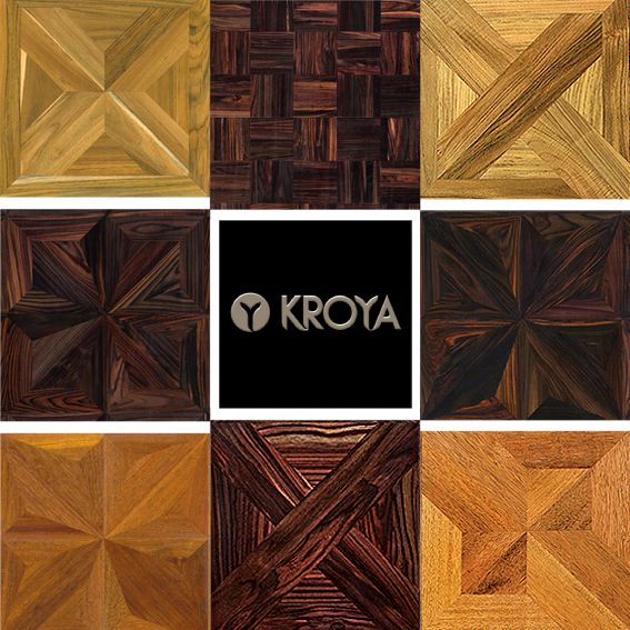 Let's design with KROYA Design Parquet Collections. From Left to Right :  1. KROYA Teak Sap Majestic Cross 2. KROYA Sonokeling Classic Weave 3. KROYA Teak London 4. KROYA Sonokeling Mystique Star 5. KROYA Sonokeling Little Radiant Quartz 6. KROYA Merbau Radiant Quartz 7. KROYA Sonokeling Crossroad 8. KROYA Merbau Milan  See more on : www.kroyafloors.com