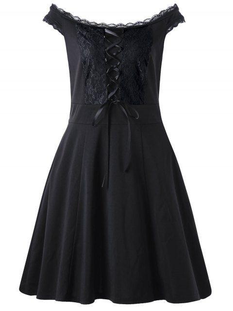 Lace Up Plus Size Mini Dress - BLACK
