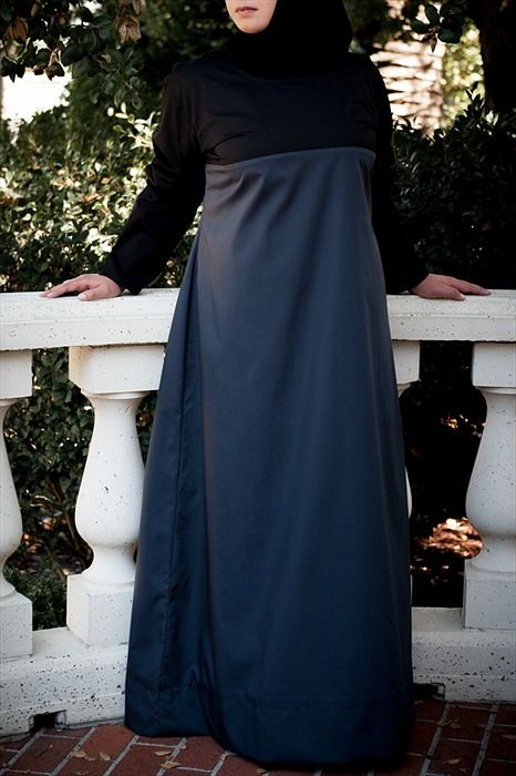 Colorblock Black and Grey Long Dress - $49.50 : Plus Size Muslimah :: Plus Size Islamic Dress for Women, plus size Islamic clothing, plus size abaya, hijab hats, Islamic Art, Plus size Islamic dress for women. Get trendy Islamic clothing in plus sizes, plus size abayas, plus size jilbabs, and hijab hats.