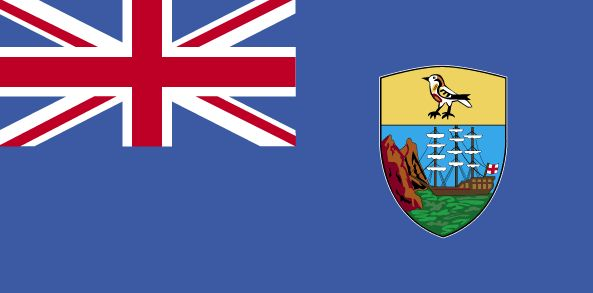 St. Helena - Saint Helena is a British territory and therefore uses a variation of the UK flag. It includes the Saint Helena shield that displays a three-masted ship and a representation of the island's rocky coastline.