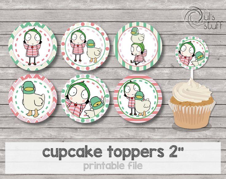 Cupcake toppers de Sarah y Pato imprimibles de DulsStuff en Etsy