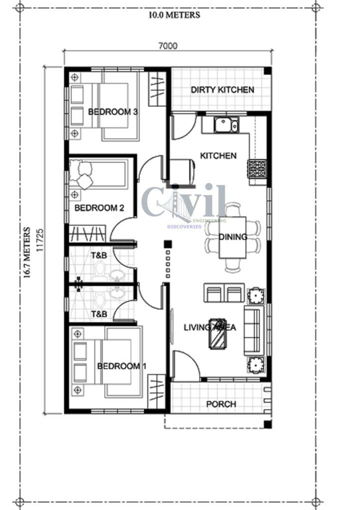Home Design Plan 10x16m With 3 Bedrooms Engineering Discoveries Bungalow Floor Plans Bedroom House Plans Simple Floor Plans