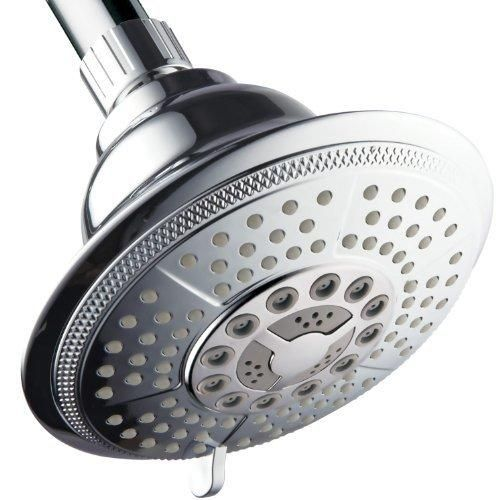 HotelSpa High-Power Ultra-Luxury 7-Setting Large 5 Inch Shower-Head with Quick Connect from Top Brand Manufacturer. Angle Adjustable Showerhead with Water Saving Economy and Pause Mode (Premium Chrome)