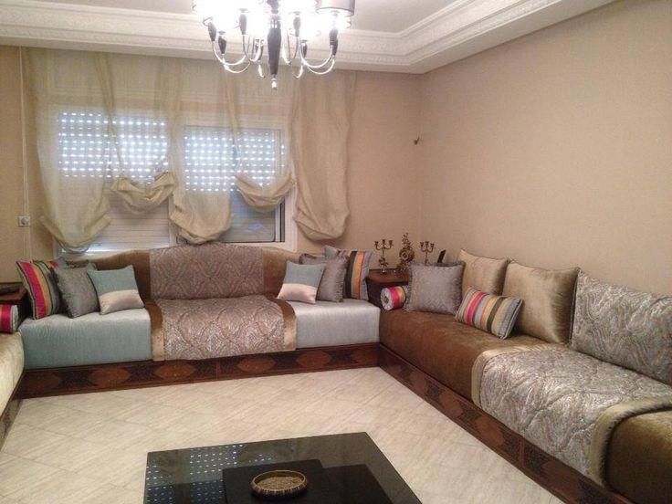 Decoration salon marocain moderne beige for Decoration salon marocain