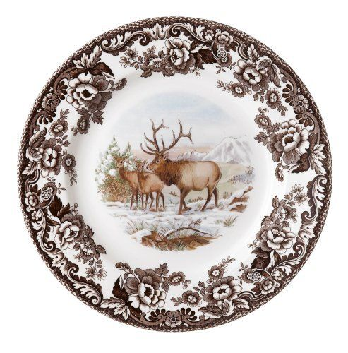 Spode Woodland American Wildlife Elk Dinner Plate by Spode. $31.50. Safe for everyday dishwasher and microwave use. 10-inch dinner plate depicts choice of wildlife. Full-color image of North American animal shown in natural setting. Made of high-quality earthenware in the English tradition. Historic Spode British Flowers border in brown. Amazon.com                Spode's Woodland American Wildlife series brings nature to the table on high-quality earthenware. Each piece depict...
