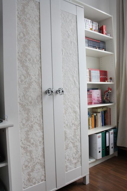 Elegant schrank kleiderschrank tapete barock shabby beige bekleben DIY do it yourself aneboda