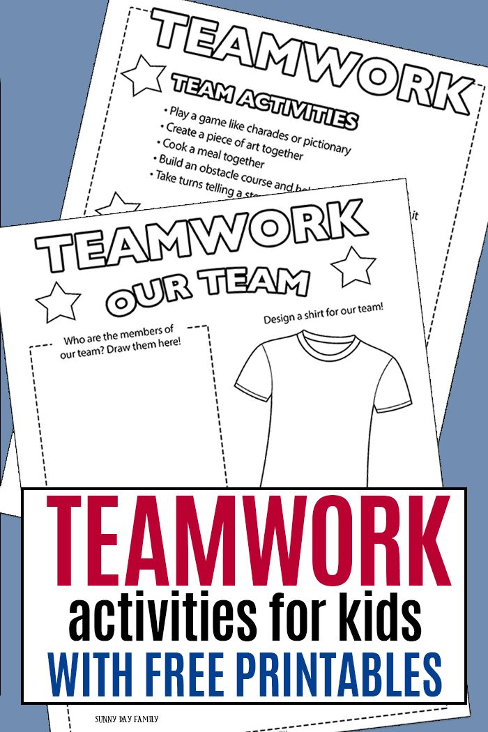 Teamwork activities for kids and families to do together! Help kids learn about teamwork as part of this month's Family Dinner Book Club - includes a free printable list of activities and service projects too! #kidsactivities #teamwork #printables