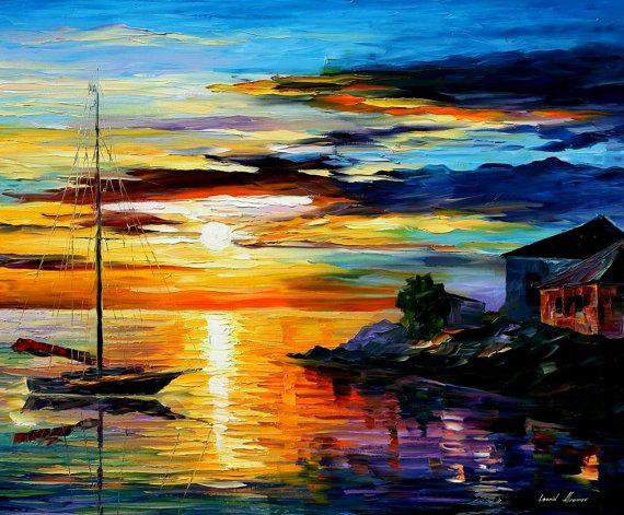 """Sicilia, Messina, Italia pintura al óleo sobre lienzo de Leonid Afremov. Arte del paisaje marino, mar decoración, arte de océano, barco, tamaño: 30 """"x 24"""" pulgadas"""