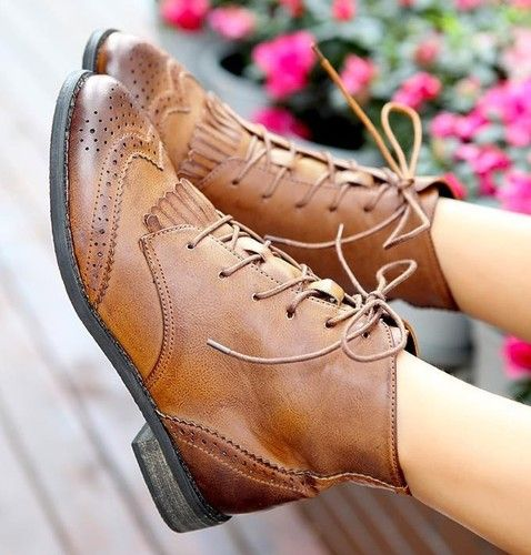 Womens Lace Up Tassel Fringe Punk Low Heel Brogue Ankle Boots Oxford Shoes Y315 | eBay