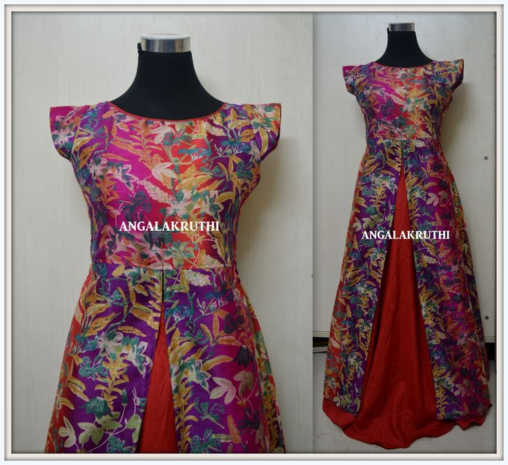 Floral designs,floral long coat wit red raw silk lehenga, Custom Designs by Angalakruthi, Hand Embroidery by Angalakruthi, Ladies and Kids boutique in Bangalore,