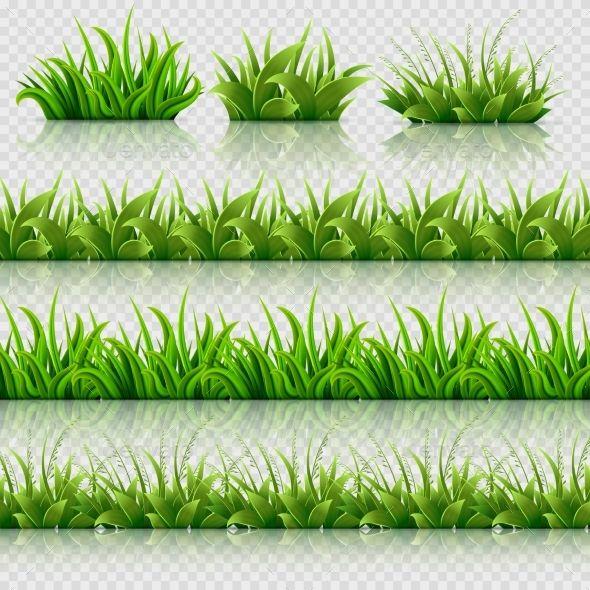Green Grass Vector Seamless Borders Set