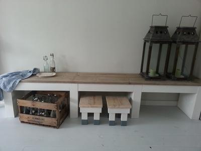 Bekijk de foto van noekwonen met als titel NOEK! wonen.  Stoer meubel van witgeverfd steigerhout en gebruikt steigerhout.  Gemaakt door NOEK! en andere inspirerende plaatjes op Welke.nl.